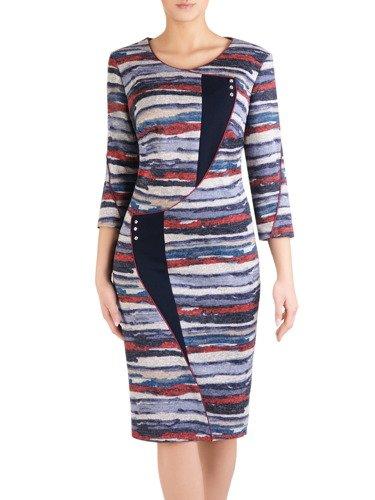 Dzianinowa sukienka z modnymi, geometrycznymi wstawkami 14464.