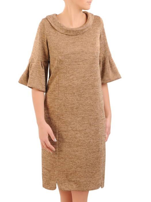 Dzianinowa sukienka z ozdobnymi rękawami i golfem 30810