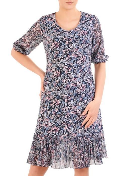 Dzianinowa sukienka z szyfonowymi rękawkami i plisami 29928