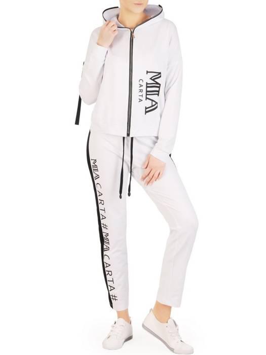 Dzianinowe białe spodnie z lampasem 28269