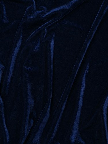 Efektowna sukienka z aksamitu 14561, granatowa kreacja z modnymi rękawami.
