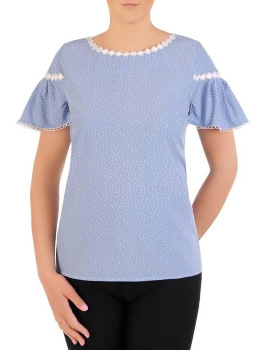 Elegancka bluzka w groszki z ozdobnymi, koronkowymi wstawkami 29973