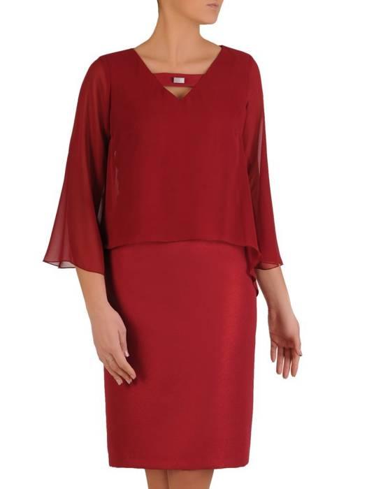 Elegancka bordowa sukienka, kreacja maskująca niedoskonałości 28083