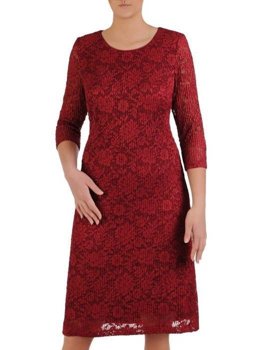 Elegancka bordowa sukienka z koronki 25790
