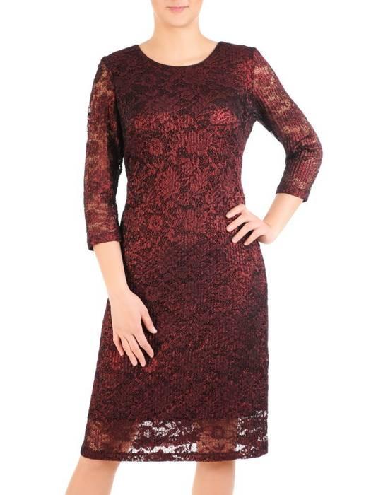 Elegancka bordowa sukienka z koronki 29869