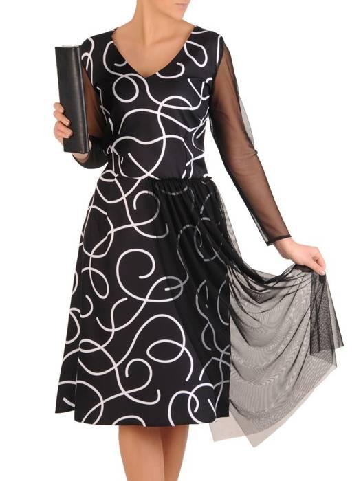 Elegancka czarna sukienka z tiulowymi rękawami 28067