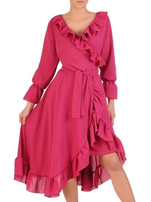 Elegancka, kopertowa sukienka z ozdobnymi falbanami  29541