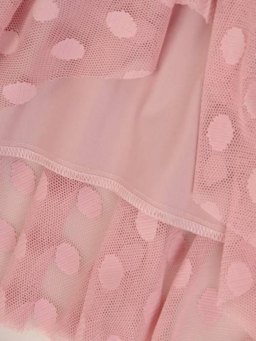 Elegancka pudrowa sukienka z tiulu w groszki 27635