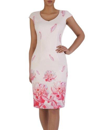 Elegancka sukienka bez rękawów 15559, kreacja z nadrukiem w subtelnych kolorach.