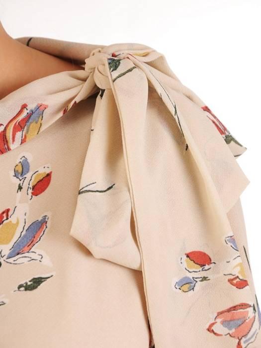 Elegancka sukienka damska, kreacja z modnym wiązaniem 28899
