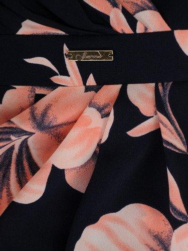 Elegancka sukienka kopertowa 15658, stylowa kreacja w jasne kwiaty.