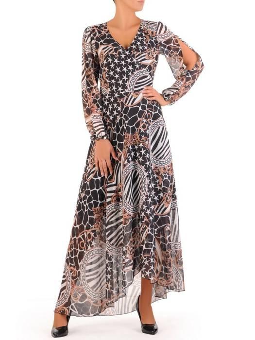 Elegancka sukienka maxi, kreacja z ozdobnymi rozcięciami na rękawach 27154