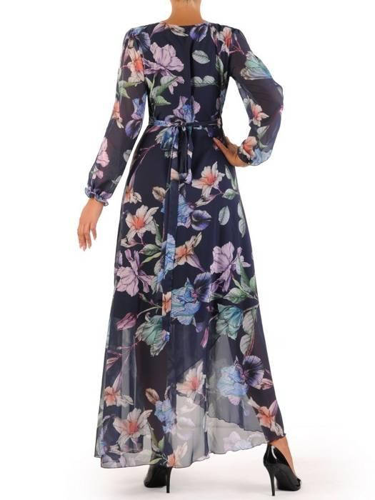 Elegancka sukienka maxi, kreacja z ozdobnymi rozcięciami na rękawach 30016