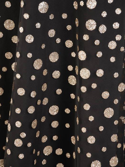 Elegancka sukienka w groszki i ozdobnym wiązaniem na szyi 30806