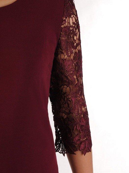 Elegancka sukienka wieczorowa, kreacja z koronkowymi rękawami 24428