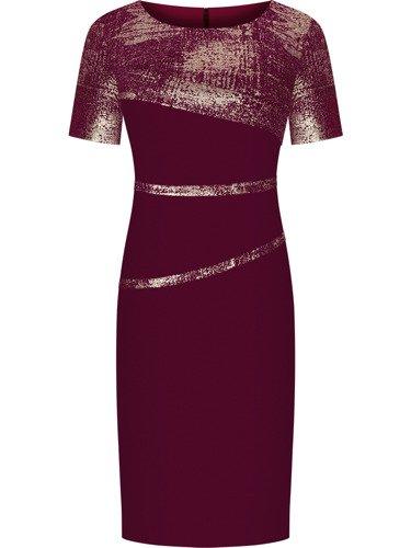 Elegancka sukienka wyszczuplająca Ewita I, kreacja wyjściowa z błyszczącymi wstawkami.