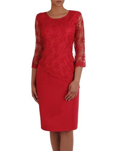 Elegancka sukienka z asymetrycznym, koronkowym wykończeniem 16481.