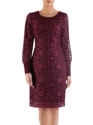 Elegancka sukienka z bordowej koronki 14470, dwuwarstwowa kreacja wizytowa.