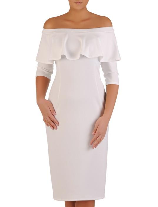 Elegancka sukienka z dekoltem carmen, jasna kreacja odsłaniająca ramiona 22432