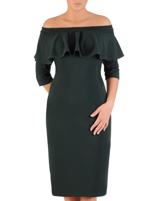 Elegancka sukienka z dekoltem carmen, zielona kreacja odsłaniająca ramiona 22590