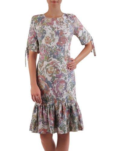 Elegancka sukienka z falbaną 16712, modna kreacja w kwiatowy wzór