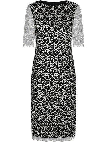 Elegancka sukienka z gipiury Renata, nowoczesna kreacja wizytowa.