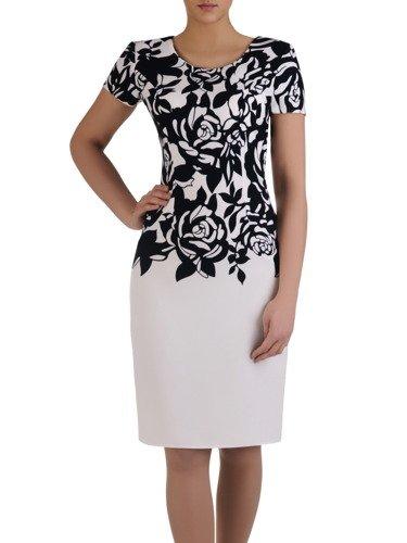 Elegancka sukienka z graficznym nadrukiem, wiosenna kreacja wyszczuplająca 15024