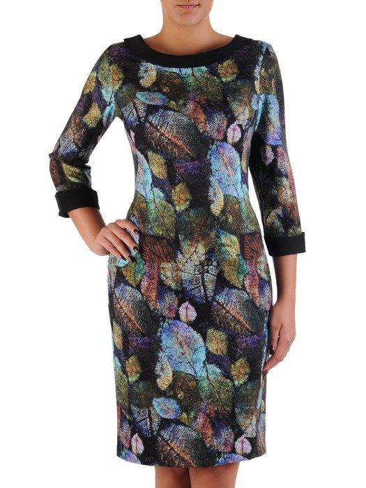 Elegancka sukienka z półgolfem 17350, kreacja w oryginalny wzór.