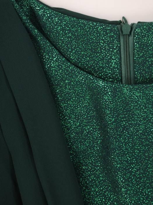 Elegancka sukienka z szyfonową narzutką, kreacja maskująca brzuch 27360