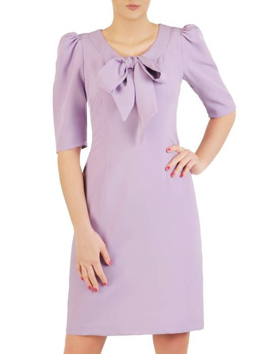 Elegancka sukienka z wiązaną kokardą i bufiastymi rękawami 29150