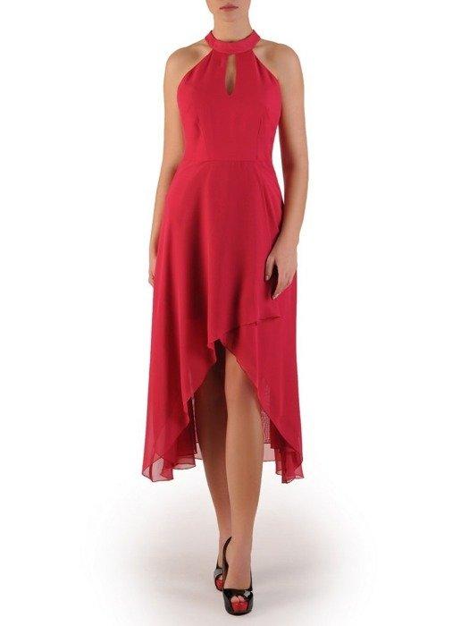 Elegancka sukienka z wydłużonym tyłem, kreacja z modnym dekoltem 24394