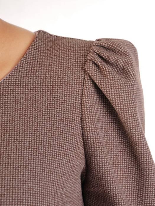 Elegancka wełniana sukienka z bufiastymi rękawami 27367