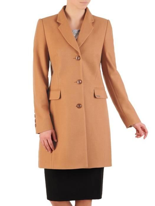 Elegancki, beżowy płaszcz damski z kieszeniami 28544