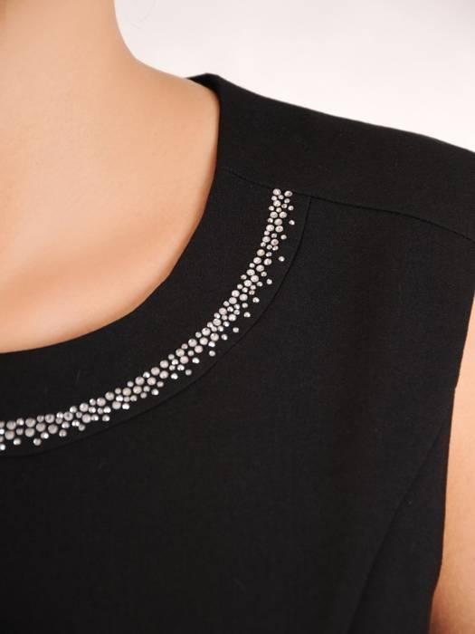 Elegancki czarny komplet, prosta sukienka z koronkowym żakietem 30417