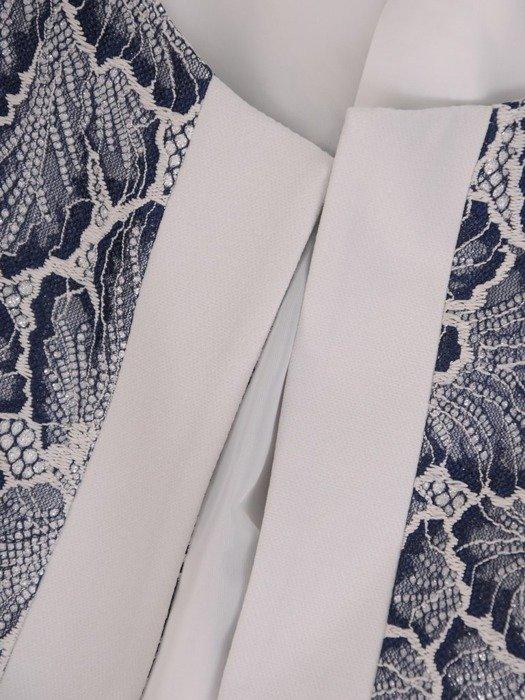 Elegancki kostium na wesele, prosta sukienka z koronkowym żakietem 26469