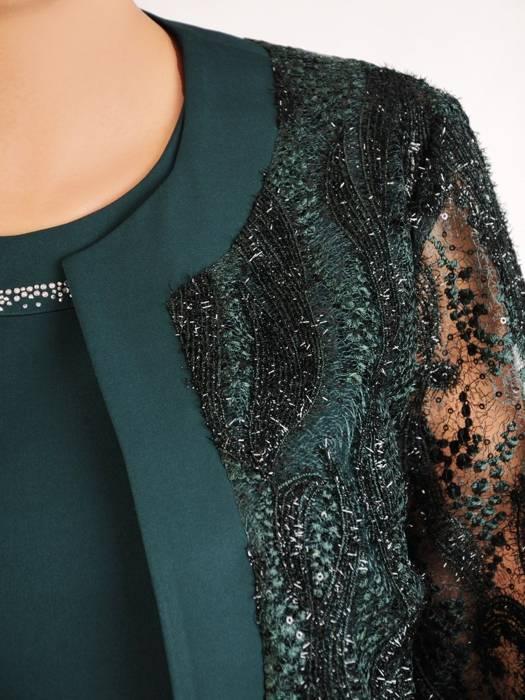 Elegancki zielony komplet, prosta sukienka z koronkowym żakietem 30416