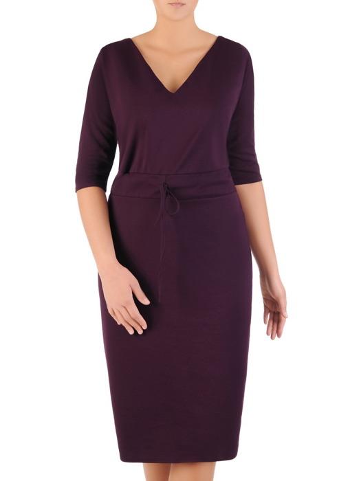 Fioletowa sukienka z ozdobnym ściągaczem, modna kreacja z dzianiny 22453