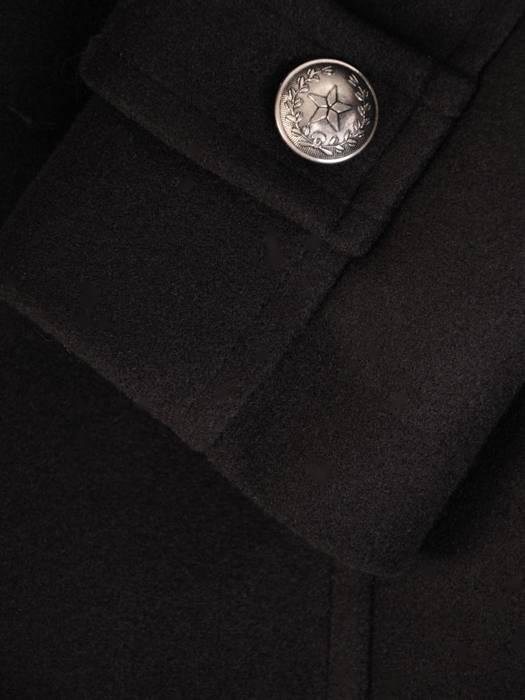 Flauszowy, czarny płaszczyk damski z ozdobnymi guzikami 27423
