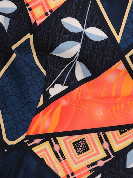 Geometryczna sukienka w modnych kolorach, prosta kreacja wizytowa 21858