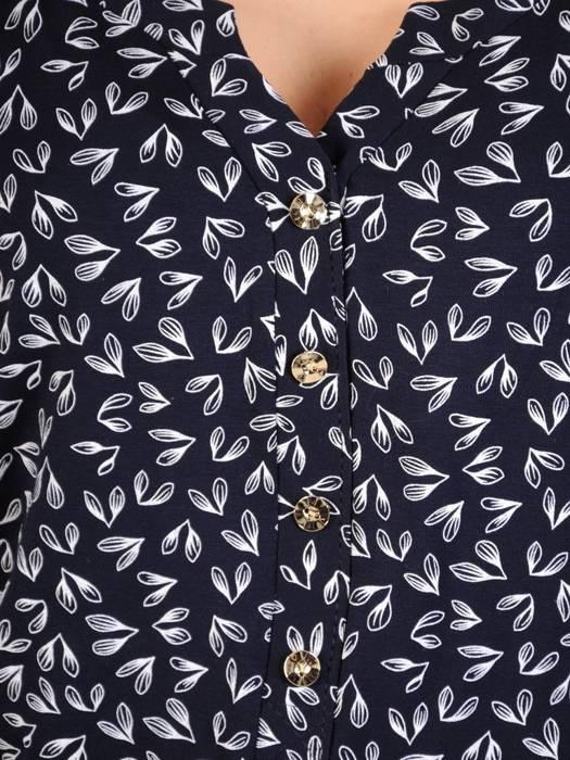 Granatowa bluzka z marszczeniami na rękawach 29829