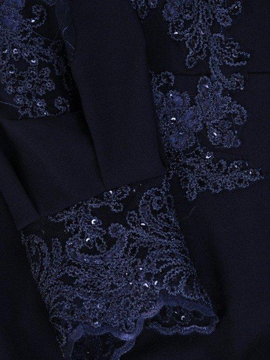 Granatowa sukienka wieczorowa, kreacja z koronkowymi wstawkami 24195