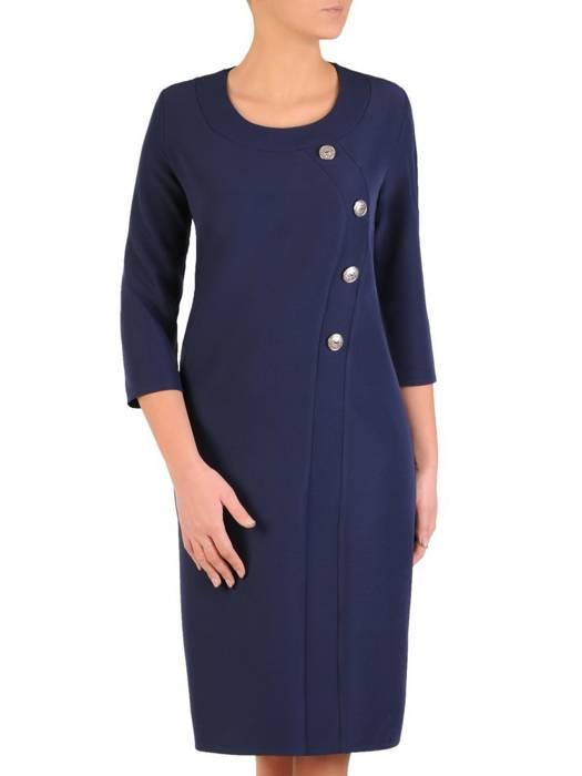 Granatowa sukienka z ozdobnymi guzikami 28123