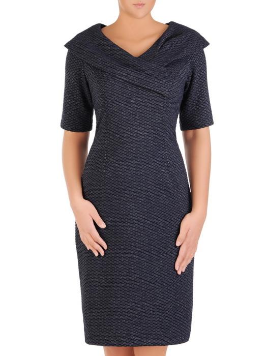 Granatowa sukienka z szerokim, marszczonym kołnierzem 21946