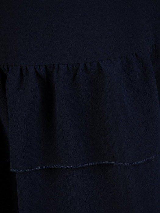Granatowa sukienka z szyfonową falbaną 25140