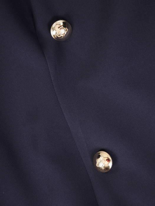 Granatowa sukienka żakietowa z dwurzędowym zapięciem 31069