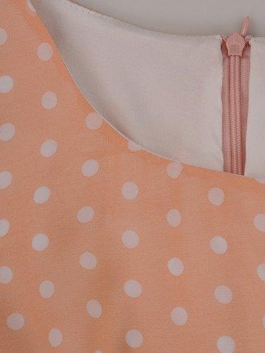 Jasna sukienka w grochy 15380, wiosenna kreacja ze zwiewnego szyfonu.