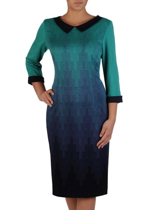 Jesienna sukienka Celestia XVI, elegancka kreacja w geometryczny wzór.
