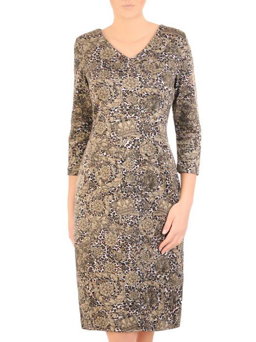 Jesienna sukienka z dzianiny w oryginalnym wzorze 31084