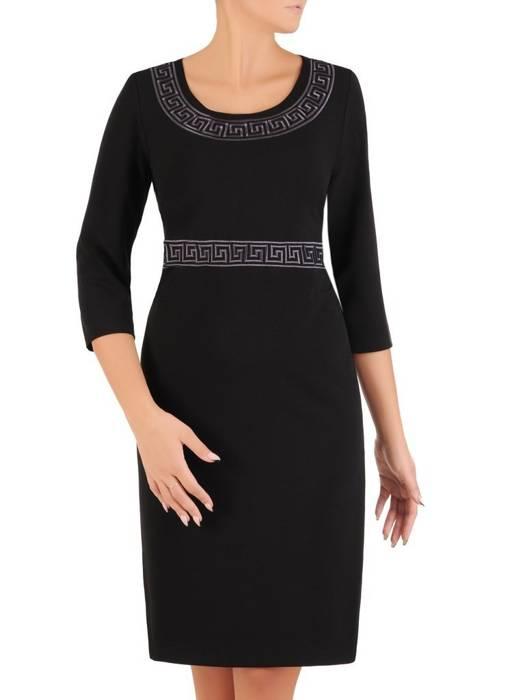 Klasyczna prosta sukienka z dzianiny 27404