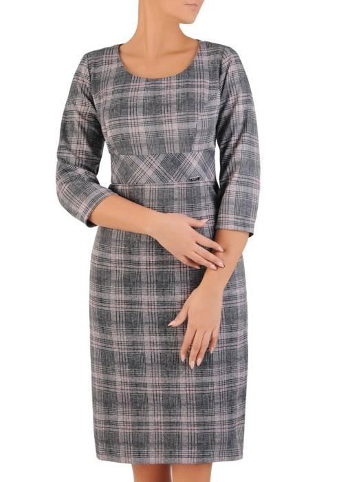 Klasyczna sukienka odcinana w pasie, kreacja w kratę 27711